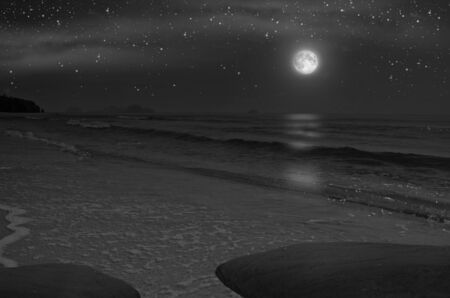 Bright stars and moon over the sea and beach