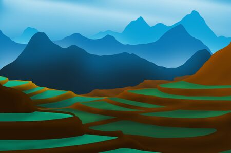 Terraced rice fields on high mountain with blue ranges and sky