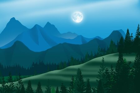 White full moon over valleys in blue mountains at night