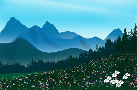 Beautiful flower field and pine forest on high mountains