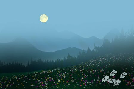 Beautiful flower field on the hill with pine trees in full moon night Imagens