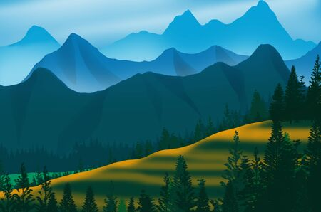 Beautiful mountains and hills with pine forest