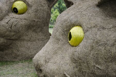 Big yellow eyes of straw cat sculptures close up Imagens