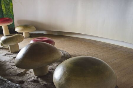 Light drop on big mushroom in education building Imagens