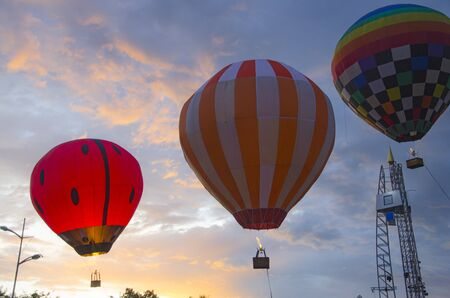 Beautiful colored ballons with evening sky background Imagens