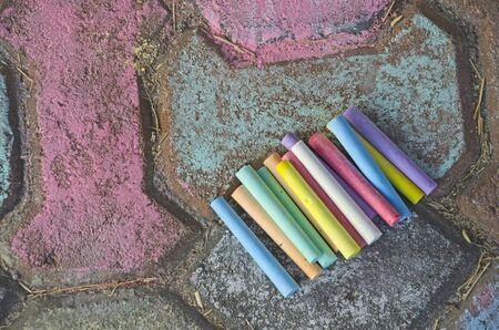 Beautiful colored chalks for street art painting Imagens