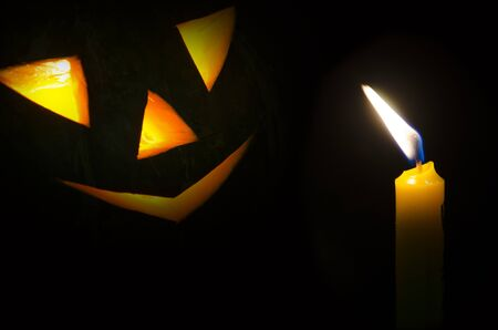 Light of candle and lantern of Jack in Halloween night Imagens