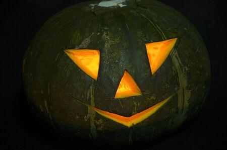 Scared pumpkin lantern of Jack in the night