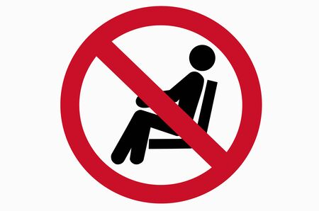 Prohibit no sitting sign on black background