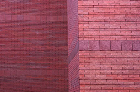 Beautiful pattern of row red brick wall of building