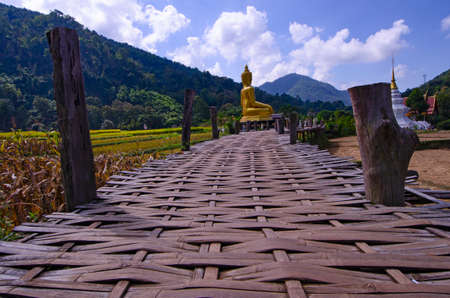 Golden Buddha image and white pagoda in the valley
