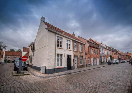 Corner of vintage house in Bruges