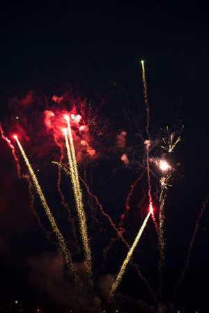 Multicolor fireworks celebration. Color red, green and gold sparks in the sky