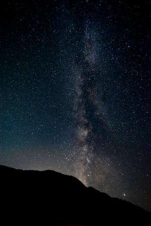 Schöne Milchstraße und Sterne mit Silouhette-Bäumen