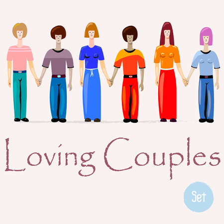 Set of three couples in love. Lesbians, gay and heterosexual couples holding hands. Colorful nice illustration for web or printed production.