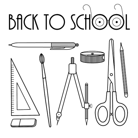 Set of school supplies: scissors, brushes, compasses, pencil, eraser, pencil sharpener, ruler, pen. Isolated line illustration on white background. Vector. 写真素材 - 101306927