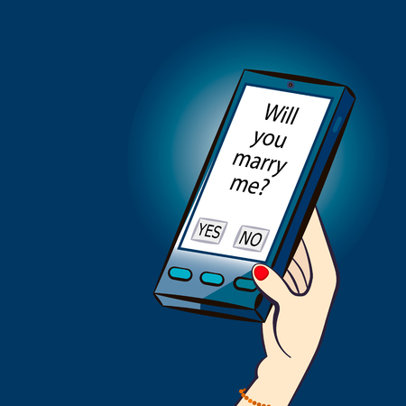 Nice illustration representing the changing of the human relations with new technologies. SMS with question Will you marry me? Vector cartoon illustration.