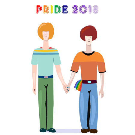 Cool gay pride 2018 illustration representing a couple of two Caucasian boys holding hands. Suitable for Gay Pride promo production, web and printing. Vector illustration.