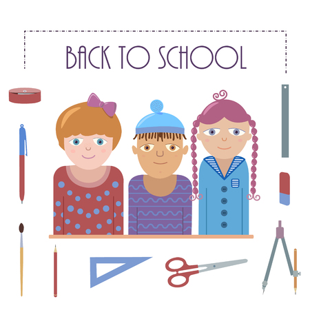 Nice illustration representing Back to school. Three school kids (Caucasian and mulatto) and set of school stuff. Colorful vector picture. Can be used for web and printing production.