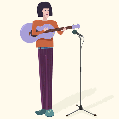 Musician with his guitar and microphone. Caucasian or Asian tall slender artist man playing music instrument and singing. Vector illustration with shadow on light background. Detailed flat style.
