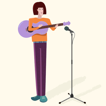 Musician man with guitar and microphone. Caucasian or Asian tall slender artist boy playing music instrument and singing. Vector illustration with shadows on light background. Detailed flat style.