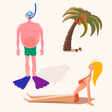 People on holiday. Vector set. Girl in bikini, man-diver and palm tree. Happy cartoon characters on vacation. Illustrations for your project. Çizim