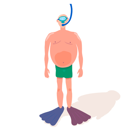 Swimmer with flippers, snorkel and big belly. White Man in Swimsuit. Cool vector illustration on white background. For print or web project. Stok Fotoğraf - 104466909
