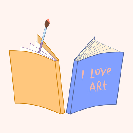 notebook and paintbrush. hand written lettering I love art. illustration or logo representing Art. vector illustration. Suitable for web or printed production for artists, school supplies, stationery Çizim
