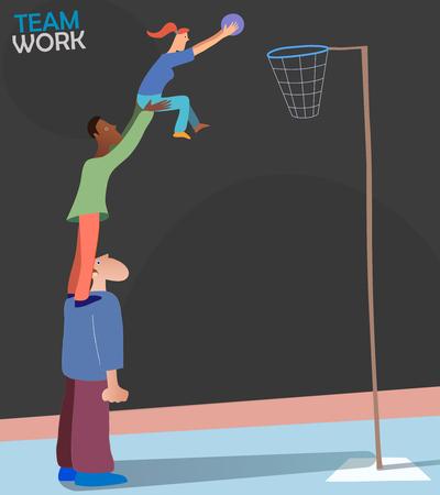 Illustrazione che rappresenta il lavoro di squadra e lo spirito di squadra. Tre persone di diverse razze e generi che giocano a basket. Bella immagine metaforica di persone che raggiungono un obiettivo comune. Vettore eps10.