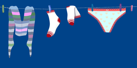 Laundry drying on a washing line, woman underwear on clothes line. Illustration with woman panties, underpants, socks, pantyhose, tights on rope with clothespins isolated. vector Фото со стока - 108769781