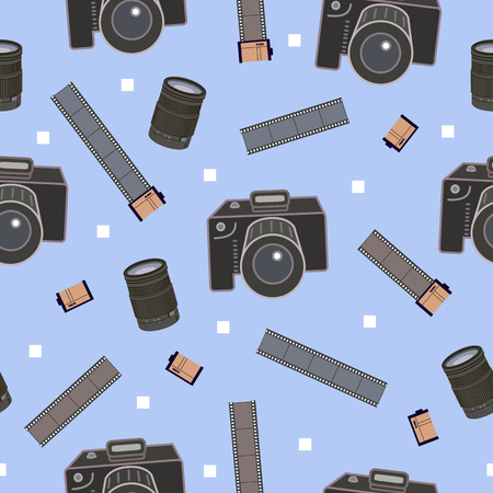 seamless pattern with photographic equipment - camera, film. decoration for wrapping paper, ornament background, flyers and posters for photographers. On blue background. Vintage vector illustration.