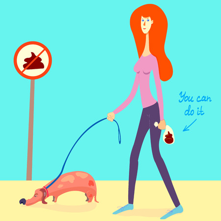 illustration about picking up your dog's poop. girl picked up a dog's shit and put it into a doggie bag. cartoon style woman with a dog on a leash. no pooping sign. Text You can do it. eps 8, vector Illustration