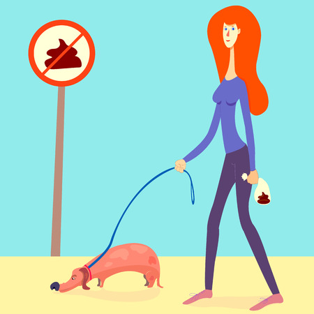 illustration about picking up your dogs poop. Red haired girl picked up a dogs shit and put it into a doggie bag. cartoon style woman with a dachshund on a leash. no pooping sign. eps 8, vector