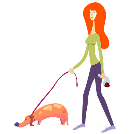 female person picked up the dogs shit. Red haired girl picked up a dogs poop and put it into a doggie bag. cartoon style woman with  a dachshund on a leash. isolated on white. eps 8, vector