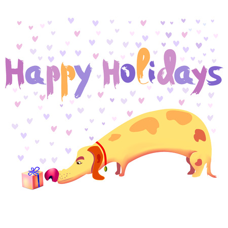 Holiday gift. Dog sniffing a beautiful gift. Yellow dachshund. Happy holidays illustration for birthday, christmas holidays etc. vector 10 eps