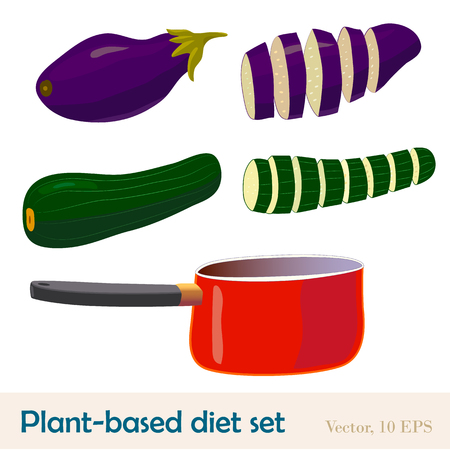 Eggplant and zucchini whole and sliced, with a red pan. Vegetarian and vegan kitchen. Plant-based low calorie diet food. Beautiful colorful vector illustration
