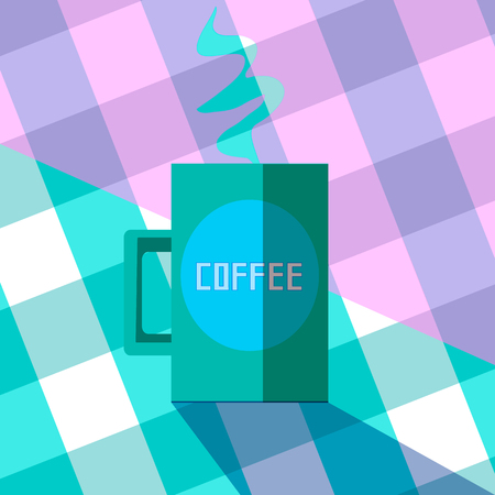 of coffee, hot drink on a table. green mug in the kitchen or in coffee house. flat vintage style illustration, vector
