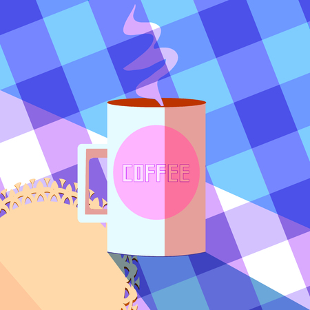 coffee mug on a table with a lace doily,  of hot drink in a kitchen. flat vintage style illustration, vector Ilustração