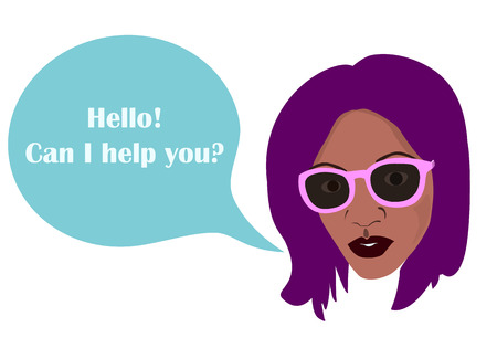 black african woman's head and comics balloon with text Hello, can I help you? illustration representing female staff, vendor, consultant at the store, manager, virtual assistant etc. Girl at work proposes her help to a client. template for any text