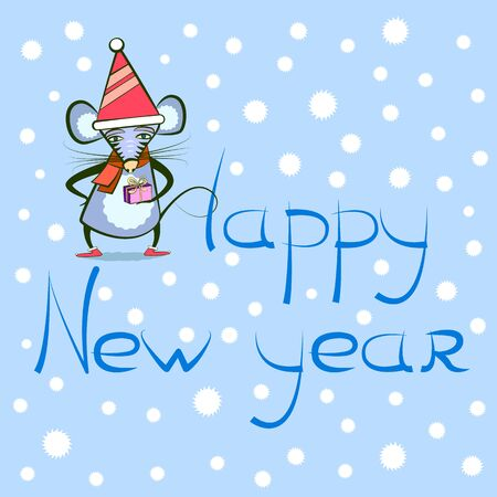 happy new year greeting card with mouse or rat - symbol of the year 2020, vector illustration with a rodent, snowflakes and a text