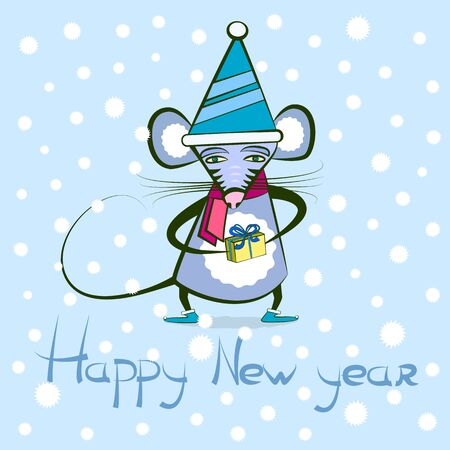 new year card - rat or little mouse holding a gift. Vector illustration on the Christmas theme with a cartoon rodent and greeting text. Symbol of the 2020 year