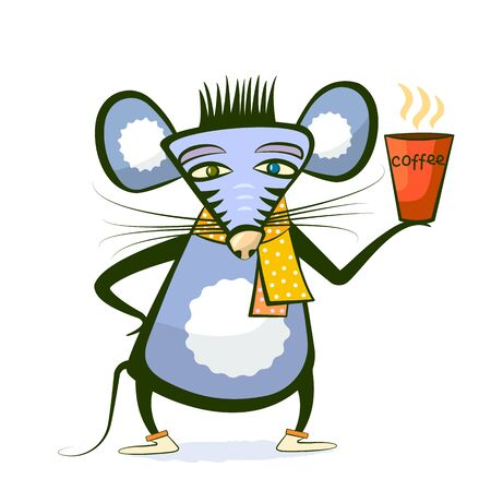 mouse holding a steaming cup of coffee. Blue, yellow, orange colors. Character with a beverage. Vector illustration for coffee drink lovers