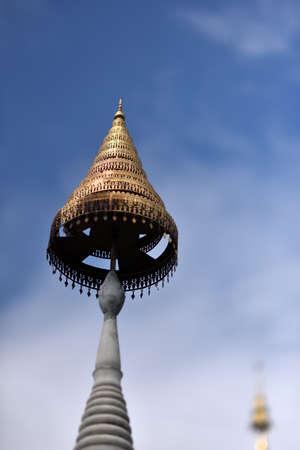 A golden golden pagoda at Sathira Dhammasathan, Bangkok, Thailand.