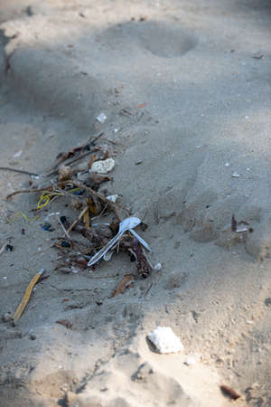 White plastic spoon found left on the beach. A starting point of the environment problem. 写真素材 - 119881091