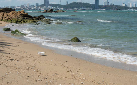 White foam cup found left on the beach with a nice and strong scene of urban city as a background. 写真素材
