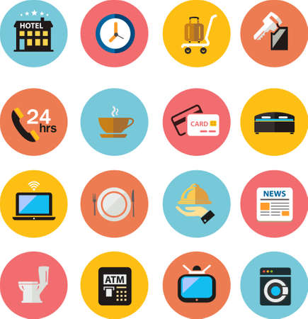 flat icons Hotel Icons set  Vector