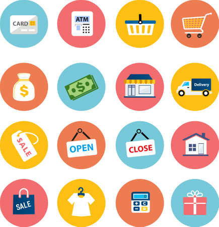 collection of flat shopping icons  Vector