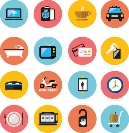 Hotel flat Icons Vector