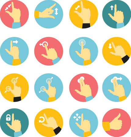 pinch: flat icons of hand icon pointer