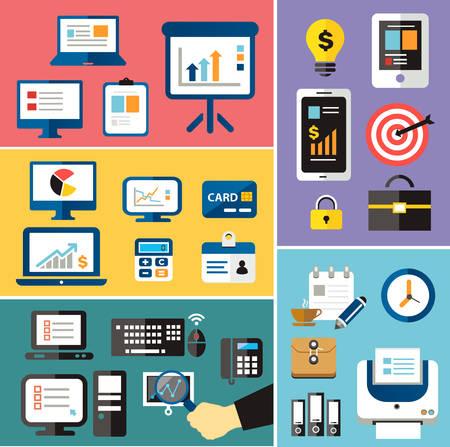 articulos oficina: concepto de colección de iconos plana de financiación de las empresas y de los objetos de marketing